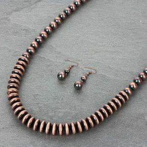 """48"""" Navajo Style Pearl Necklace Set"""